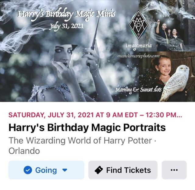 Happy Birthday, Harry! Magic minis available morning-only on July 31st. Limited spots!  $49  Basic Portraits $89  Portraits + Magic Effects   Booking ahead is required, payments accepted Venmo @Amanda-Kar.  ✨ Join me at the Wizarding World to celebrate Harry's birthday! Get into cosplay as much as you wish and cast whatever spells strike your fancy!  Mini sessions 15-20 minutes.  ✨ Magic effects include (certainly not limited to): invisibility cloak, spellcasting, magical creatures, Patronuses.  Slot availability is listed in the Discussions tab on FB and will be live updating.  #wizardingworldofharrypotter #harrypottersbirthday #imágemmagicportraits #harrypottercosplay #orlandophotographer
