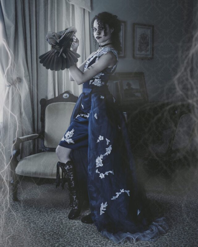 This woman is a Ravenclaw. 💙🖤💙 Edgar Allan Poe elopement on the blog today, and it's a whole dark, romantic story you just have to see. There's a strange and unusual twist at the end. 🦅   mandamariephoto.com/blog  👢: @houseofelliotlaceboots  👗: @imagemariastudio  🏠: @drphillipshouse   Navy Ballgown (there's only one!) available to purchase at etsy.com/shop/imagemaria   #imágemmagicportraits #imágemfashion  #imágemweddings #theraven #edgarallanpoe #navyandsilver #victorianstyle #orlandoelopement #orlandoweddingvendors #offbeatbride @offbeatbride #halloweenbride #hallowedding #spookyseason