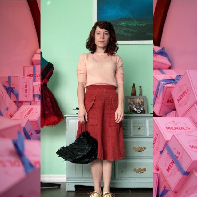"""It appears I am accidentally Wes Anderson, occasionally. I realized it when studying Anderson cinematography/color theory recently, and stumbled upon an article about the formula for a Wes Anderson character. Quirky, offbeat, curious accessory, iconic hair style, a foxy femme, corduroy, pastels, vintage.   Huh. That's… familiar.   A #fridayintroduction here to encourage, as always, relateability. Share a bit about yourself!   People often misjudge me. I'm difficult to put into a box — unless the box is a dodecahedron, with perhaps some strange portal inside. I can't explain myself. The thing you presume is often not It totally. Does anyone else have that problem? It's like an identity crisis, but you know yourself, and you want people to get you, but you're too weird for it to make sense. Quirky and curious, definitely. I've also gotten """"witch"""" a lot lately, and I'll take that.   Introduce yourself! What's your style? Are you easy to explain or curiously all sorts of things? Do you wear it loud or like to keep it mysterious?  Keep bein' you.   Manda   🦊   #accidentallywesanderson @accidentallywesanderson #quirky #curious #pastelgoth #orlandophotographer #offbeat"""